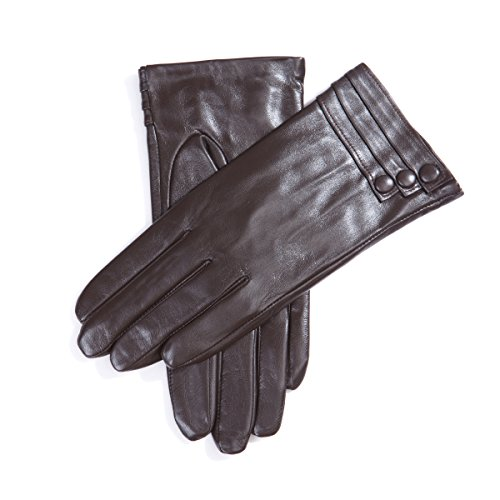 MATSU Fashion Women Winter Warm Leather Gloves 5 Colors M9213 (M, Brown (Long Fleece or Cashmere lining)) by Matsu Gloves (Image #1)