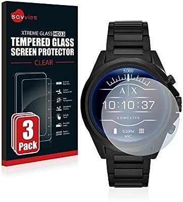 savvies Cristal Templado Compatible con Emporio Armani Exchange Smartwatch AXT2002 (3 Unidades) Protector Pantalla Vidrio Proteccion 9H Pelicula