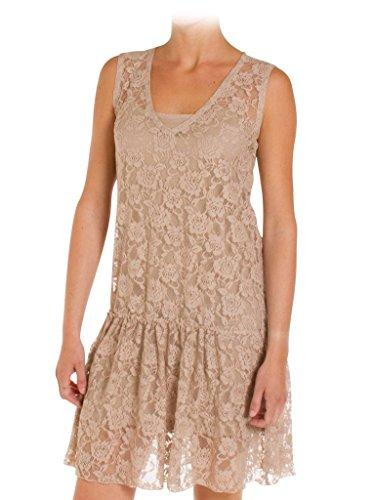 unifarben für frau ärmelloses Beige stil Kleid regular Jeans plissee 494 fit makramee 194 Carrera 1St0wqn