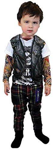 UHC Boy's Tattoo Biker Long Sleeve Youth Shirt Child Halloween Costume, Child L (12-14)