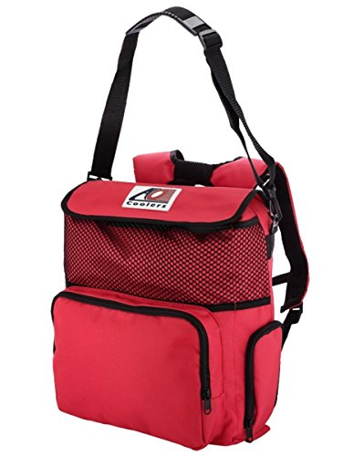 AO Coolers Backpack Soft Cooler with High-Density Insulation, Red, 18-Can