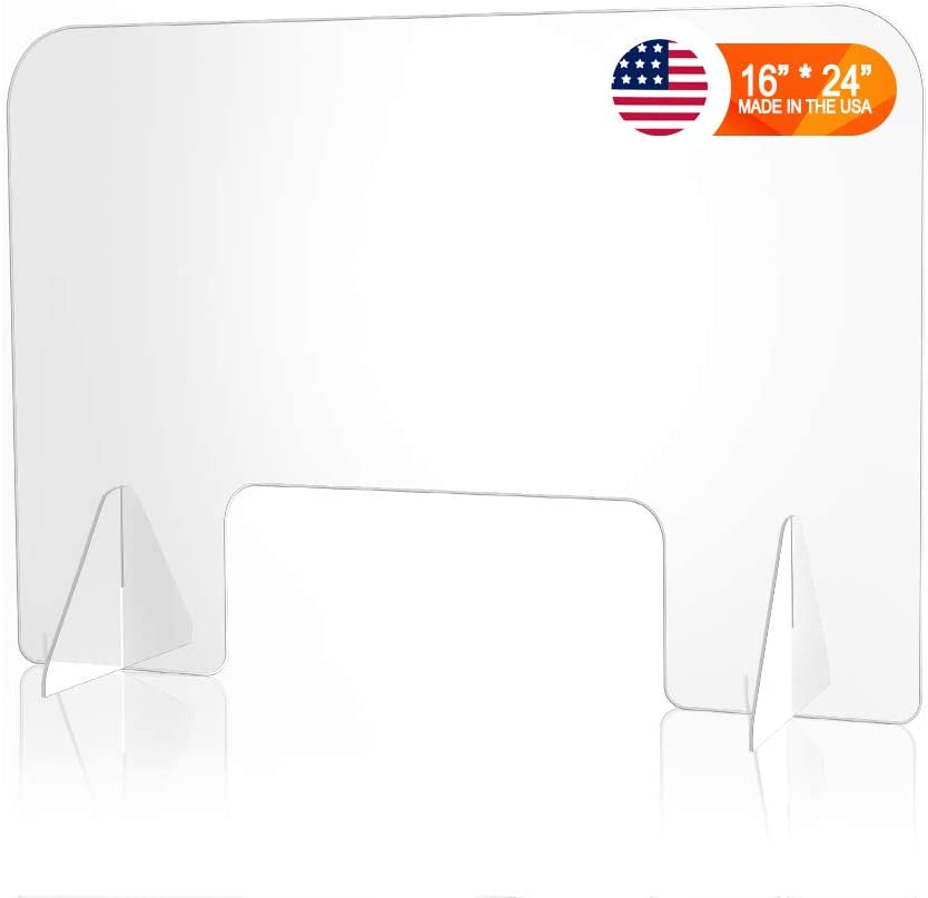 Desktop Countertop Protective Sneeze Guard Shield - Clear Acrylic Safety Barrier for Sneezing, Coughing, Droplets, Germs, and Screen Divider for Office, Desk, and Reception