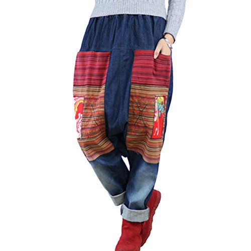 Aeneontrue Women's Casual Drop Crotch Ripped Patchwork Harem Jeans Denim Pants Trousers Blue Large