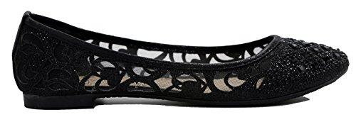 Walstar Women Rhinestone Flats Shoes Glitter Mesh Ballet Flats Slip on Flat Shoes Black LwJlja