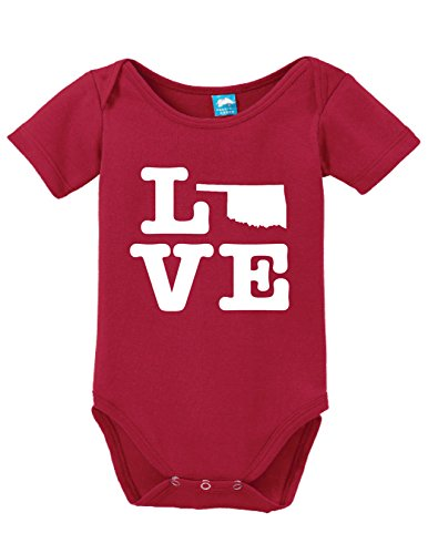 Oklahoma Love Printed Infant Bodysuit Baby Romper Red 12-18 Month