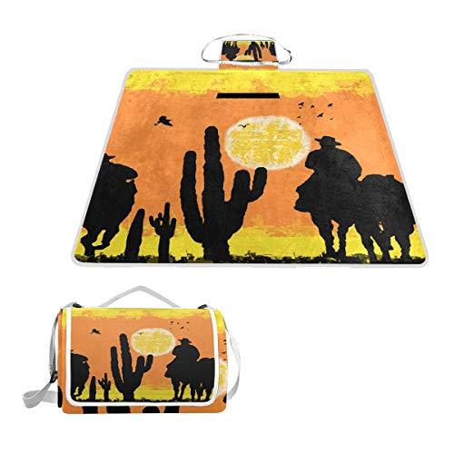 LOIGEIDQ Picnic mat Cactus Cowboys On Desert Pattern Waterproof Outdoor Picnic Blanket, Sandproof and Waterproof Picnic Blanket Tote for Camping Hiking Grass Travelling DualLayers