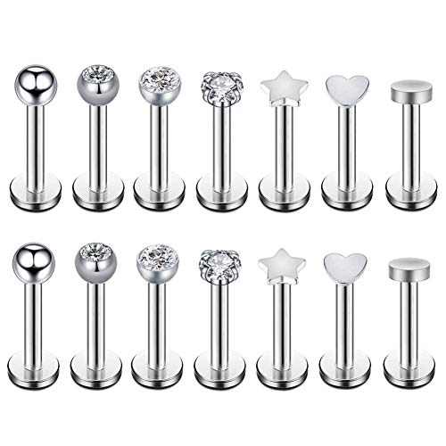 Changgaijewelry 7 Pairs 16g Surgical Steel Internally Threaded Micro CZ Gem Top Tragus/Helix/Labret Stud Earrings 3mm