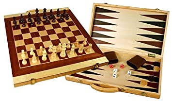 Folding 20u0026quot; Wooden 3 In 1 Chess, Checkers U0026 Backgammon ...