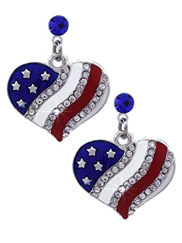 4th of July USA American Flag Patriotic Red Blue Heart Earrings Jewelry (Heart Royal Blue Dot Dangle)