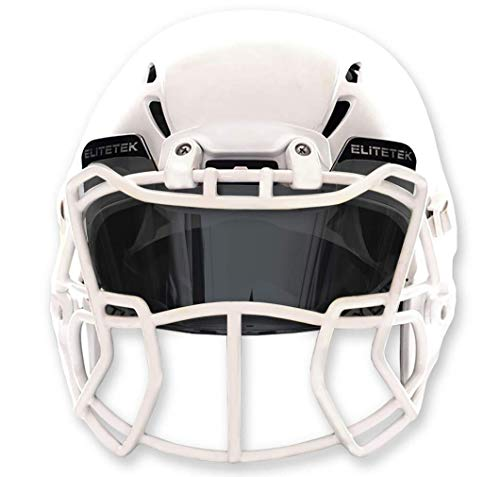EliteTek Football & Lacrosse Eye-Shield Visor (Smoke Tinted) (Football Tinted Black Visor)