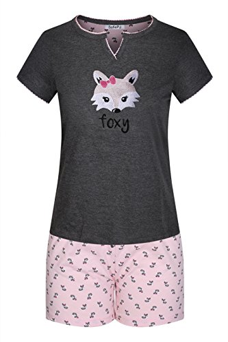 (SofiePJ Women's Pure Cotton Short Sleepwear Pajama Set with Short Sleeve Top and Short Pants with Embroidery Patch Charcoal L)