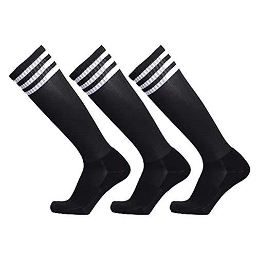 VWU Unisex Knee High 3 Stripes Athletic Soccer Football Tube Socks for Children Man Women (Medium, Black - 3 - Winter Stripe Sport Socks