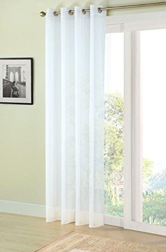 Plain Ivory Cream Natural Eyelet Voile Net Curtain Panel