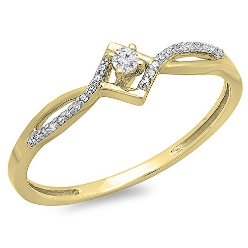 0.12 Carat (ctw) 10K Yellow Gold Round Cut White Diamond Ladies Bypass Style Promise Ring (Size 8.5) by DazzlingRock Collection