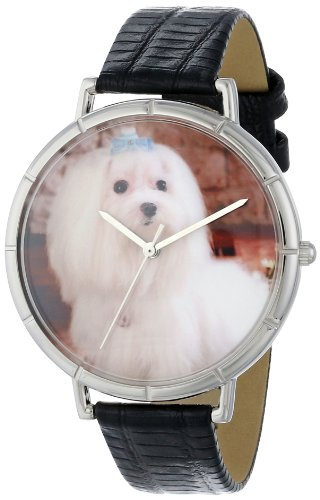 Maltese Whimsical Watches Women's T0130051 Black Leather And Silvertone Photo Watch