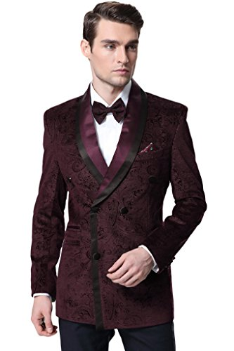 Double Breasted Tuxedo Mens (Hanayome Men's 2 Pieces Fashion Double Breasted Tuxedo Blazer Suits Pants D367£¨Red,36S)