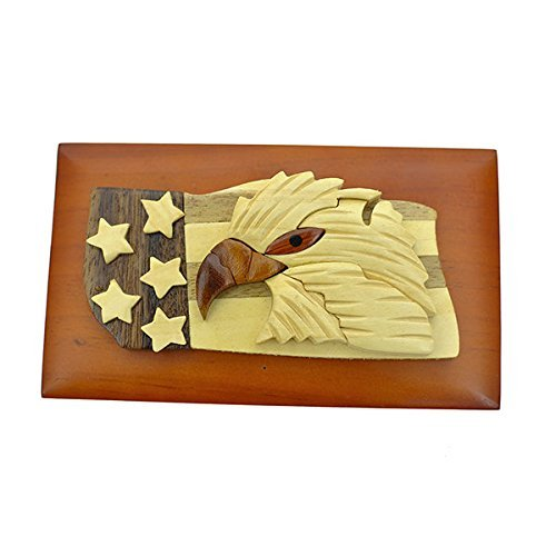 Handmade Wooden Art Intarsia Eagle with Flag Trinket Box with removable top (3547) (g2)