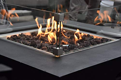 Fire Pits Modeno Aurora Outdoor Firepit Table Grey Durable Round Fire Bowl Glass Fiber Reinforced Concrete Patio Fireplace 34… firepits