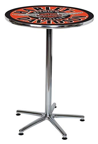 Harley Davidson Table - Harley-Davidson Winged Bar & Shield Round Cafe Table - Black & Orange HDL-12328