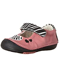Momo Baby Girls First Walker/Toddler Zebra Hearts Mary Jane Leather Shoes