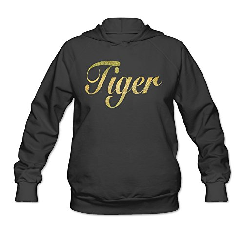 Women's Golden Bling Tiger Words Hoodies Black 100% Cotton (Cotton Tiger Uniform Golden)