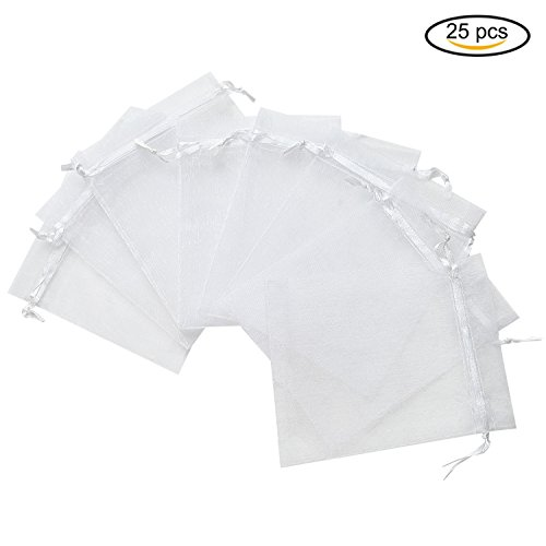 Hengu White Sheer Organza Bags Drawstring Jewelry Pouches Wedding Party Christmas Favor Organza Gift Bags,10'x12' 25pc