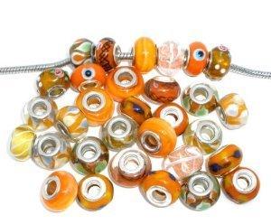 Ten (10) Pack of Assorted (Orange) Glass Lampwork Beads for Snake Chain Charm Bracelets - Fall Lampwork Beads