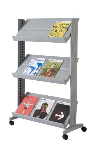 PaperFlow Half-Sized Mobile Literature Display Rack, Single-Sided, 3 Shelves, 49.8 x 33.67 x 15.17 Inches, Silver (253N.35) (Single Mobile Tables Shelf)