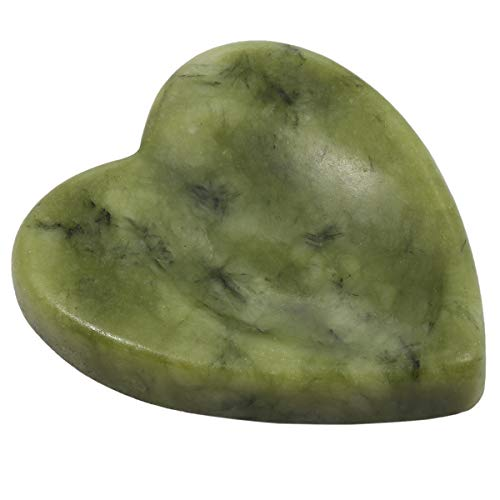 (SUNYIK Handcarved Thumb Worry Stone, Polished Palm Pocket Stones Healing Crystals, Heart Shaped, Green Jade)