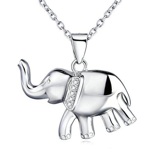 Daesar Silver Plated Necklace for Women Luck Elephant Necklace Silver Pendant Gift for Girls