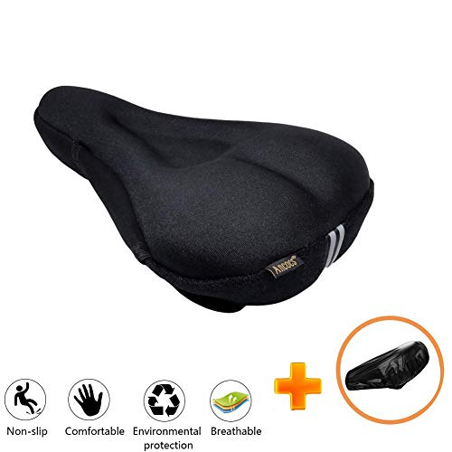 Ancocs Bicycle Seat Cushion Cover-Soft Extra Silica Gel and Foam Bike Saddle Cushion,Spinning with Waterproof & Dustproof Cover for Mens & Womens
