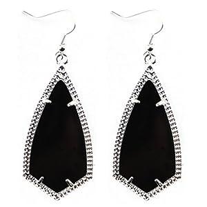 StylesILove Womens Girls Antique Kite Inspired Design Drop Dangle Arrow Hook Earrings (Silver Black)