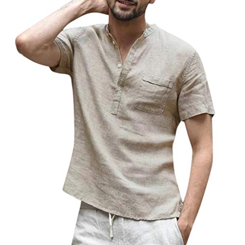 Realdo Mens Button Down Shirt,Cotton Linen,Men's Casual Solid Color Short Sleeve Retro T Shirts Tops with Pocket Khaki -
