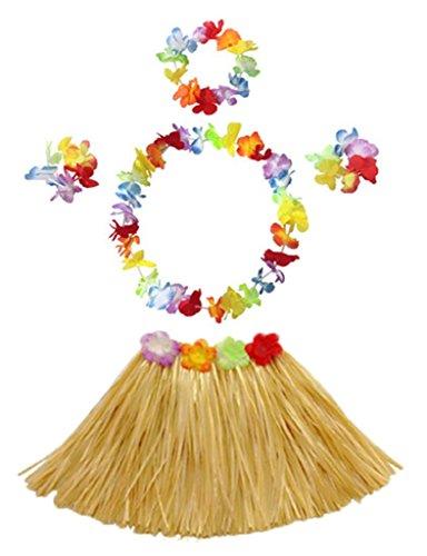 Straw Skirt (40cm Performance grass skirt with flowers bracelets headband necklace Hula set)