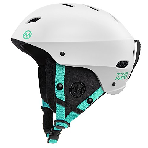 OutdoorMaster Ski Helmet - with ASTM Certified Safety, 9 Different Color Options - for Men, Women & Youth (White+Teal,S)
