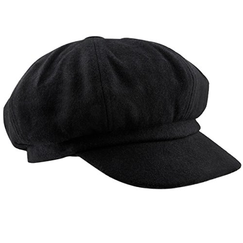 moonsix Newsboy Hat,Plain Cabbie Visor Beret Gatsby Ivy Caps for Women,Black(Woolen) -