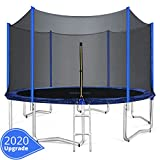 ORCC 15FT 12FT Kids Trampoline, TÜV Certificated Yard Trampoline with Enclosure Net Jumping Mat Spring Pad Wind Stakes Rain Cover and Pull T-Hook, Best Gift for Kids