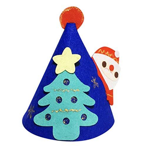 MomeChristmas Hat 1PC DIY Crafts Christmas Decoration Hat Non-Woven Felt Cloth Santa Snowman Hat Xmas Decor-Kids Adult Festive, Party Supplies (Blue)
