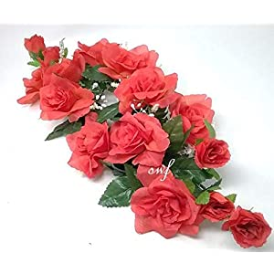 "24"" Coral Rose Swag Silk Wedding Bride Bridemaids Flowers Home Decor 100"