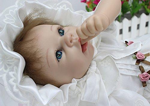 Reborn Baby Doll white Princess Dress Baby Doll Girl Gift 22''