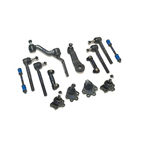 PartsW 14 Pc Steering & Suspension Kit for Chevrolet GMC K1500 1988-1991 Adjusting Sleeves Inner & Outer Tie Rod Ends Upper & Lower Ball Joints Idler & Pitman Arms Sway Bar End Links