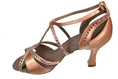 9290dbcc25f7ab Ladies Women Ballroom Dance Shoes for Latin Salsa Tango Rhinestones S1002  Dark Tan Satin EK11007 2.5 quot