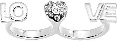Size 6 and 7 Heart Love Double Finger Ring
