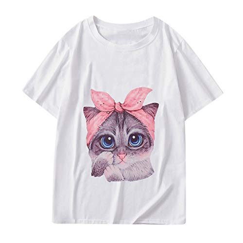 Graphic t Shirt for Women,SMALLE◕‿◕ Women 10 Designs Cute Cat T Shirt Summer Short Sleeve Loose Tops Graphic -