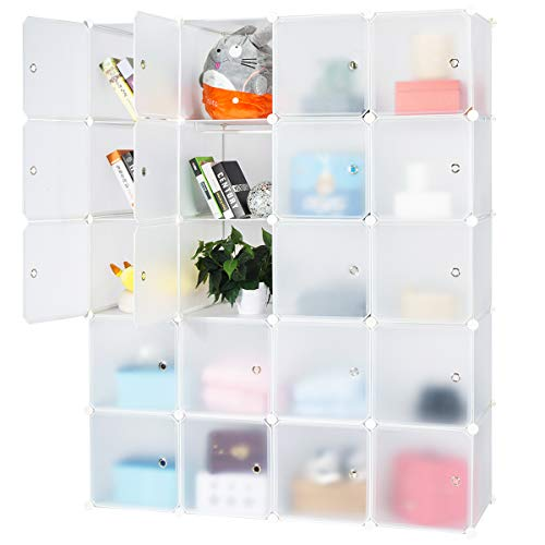 Honey Home Wardrobes Closet, Portable Closets Bedroom, Plastic DIY Modular Cabinet Shelving Storage Organizer Easy Closed Doors - 20 Cubes