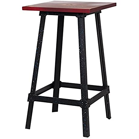 Asense 42 High Metal Side End Coffee Table Square Accent Side Tables Antique Red