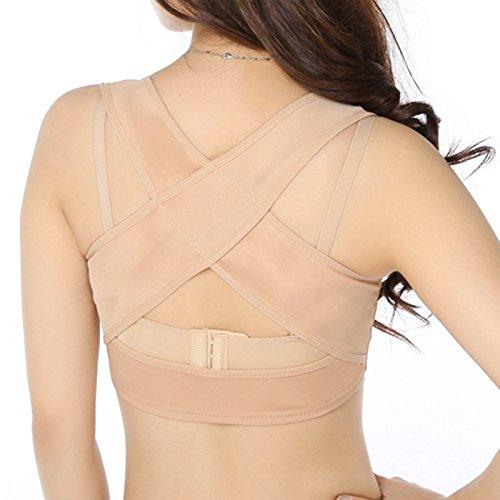 zinnor Women\'s Bra Hunchback Posture Shape Corrector Upper Shoulder with Push Up Bra Back Braces Supports 2Colors 3 Sizes (M)