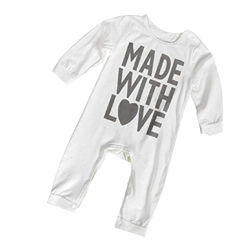 Misaky Baby Boy Girl Infant Romper Jumpsuit Bodysuit Cotton Outfit (70CM(Age:3-6M), White)