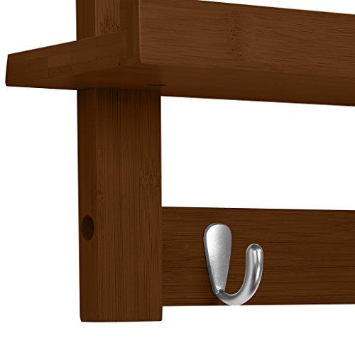LANGRIA Coat Rack Shelf, Coat Rack Wall-Mounted Bamboo Wooden Hook Rack with 5 Metal Hooks and Upper Shelf for Storage Scandinavian Style for Hallway Bathroom Living Room Bedroom, Bamboo Brown Color by LANGRIA (Image #4)