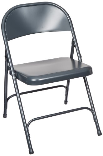 National Public Seating 50 Series All Steel Standard Folding Chair with Double Brace, 480 lbs Capacity, Char-Blue Carton of 4